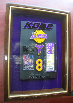 Kobe Bryant 3D Shadowbox signed card, 81 point game ticket