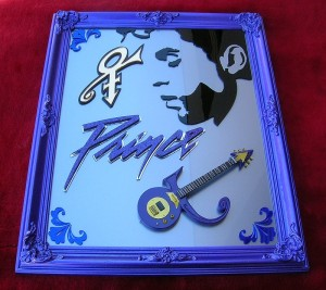 Prince inch candy apple purple framed on silver metalflake acrylic plastic 3D ART