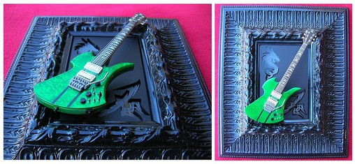 10 x 8.5 inch framed mini BC Rich Guitar